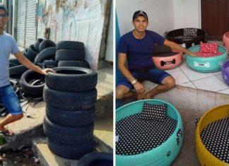 Jovem transforma pneus velhos camas