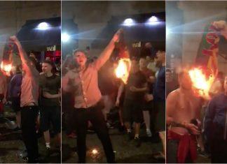 Adeptos ingleses queimam cachecol de Portugal