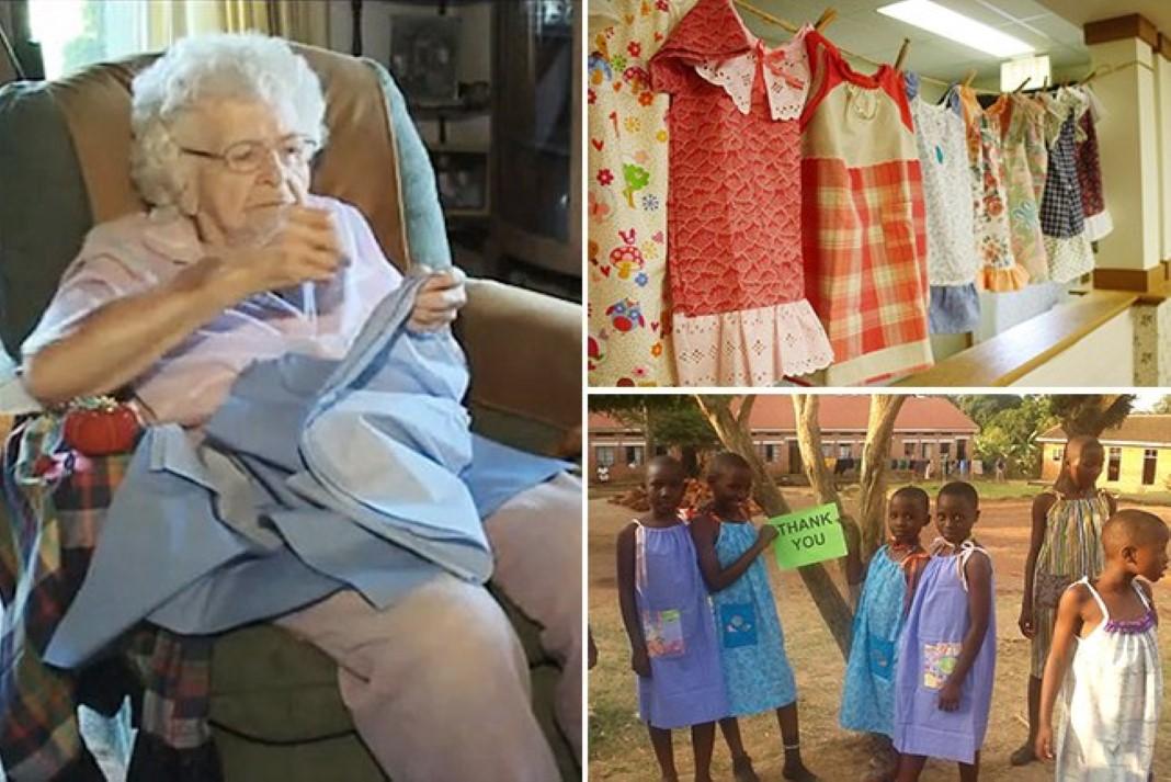 Senhora de 100 anos faz diariamente vestidos