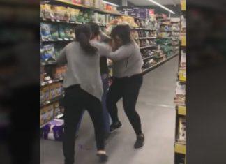 Mulheres agridem-se em supermercado