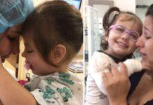 menina cega vê a mãe pela primeira vez