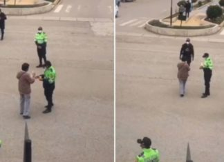 Mulher surpreende agentes da polícia