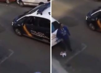Polícia Espanhola apanha homem a passear cão