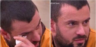 Marco Costa em lágrimas