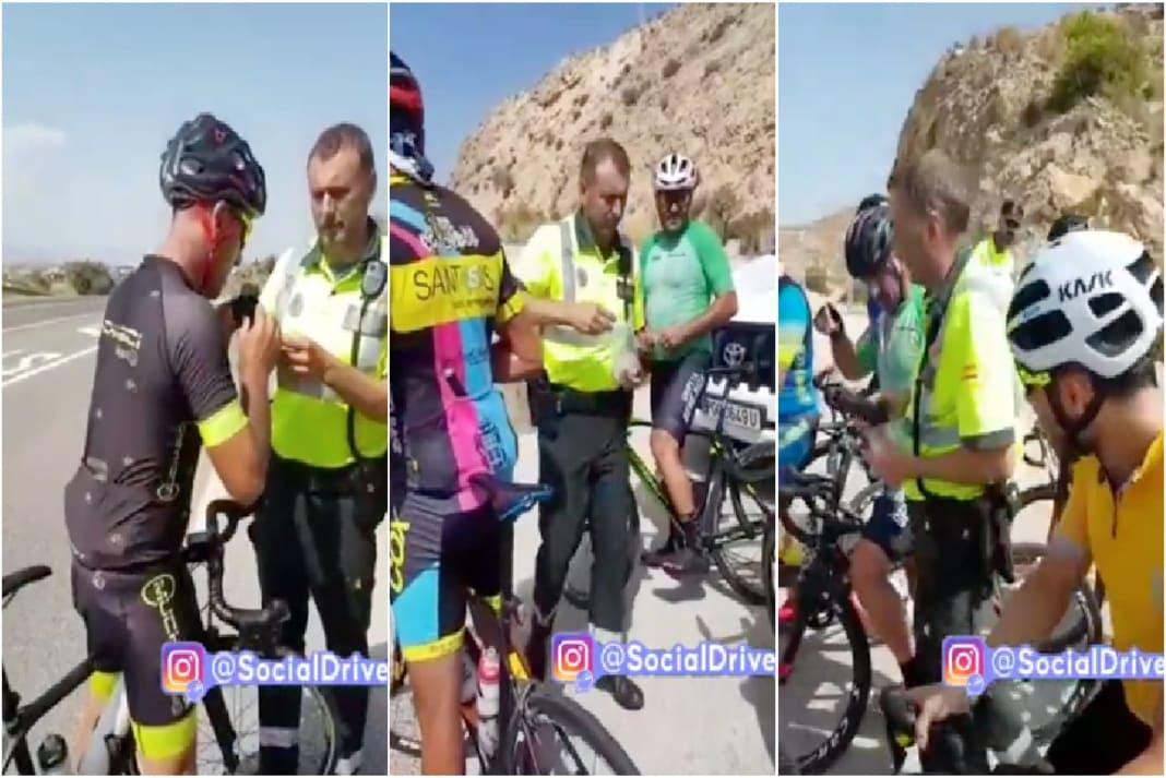 Polícia pára ciclistas estrada